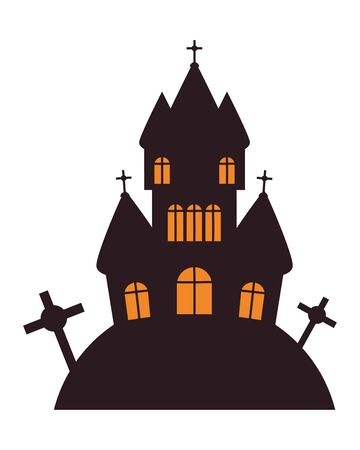 halloween dark castle and cemetery scene vector illustration design