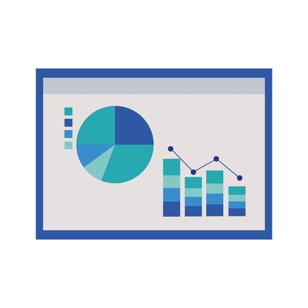 chart of statistical graphs icon over white background, colorful design. vector illustration