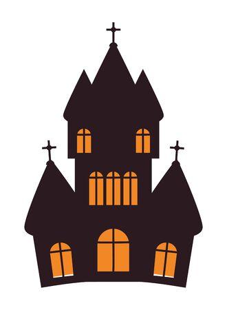 halloween dark castle building icon vector illustration design Imagens - 134508665