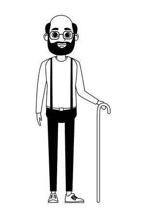 old man with beard, glasses and cane avatar cartoon character portrait vector illustration graphic design Иллюстрация