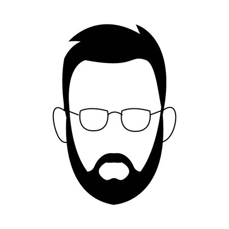 avatar man with beard and glasses icon over white background, vector illustration