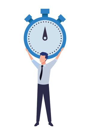 business man lifting a chronometer avatar cartoon character vector illustration graphic design