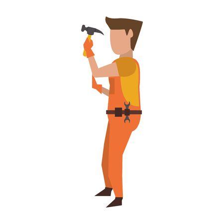 Contruction worker using hammer tool vector illustration graphic design Çizim
