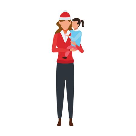 avatar woman holding a little girl in his arms and wearing christmas hats over white background, colorful design. vector illustration