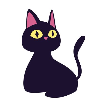 halloween cat black animal icon vector illustration design 向量圖像