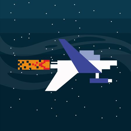 video game spaceship flying in pixelated scene vector illustration design