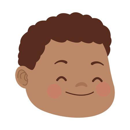 Cartoon ragazzo con capelli ricci icona su sfondo bianco, design colorato. illustrazione vettoriale Vettoriali