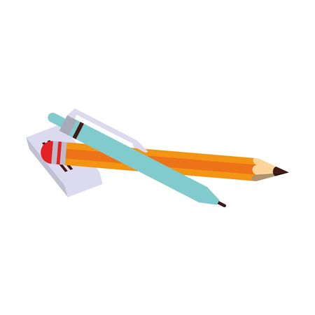 Back to school education pen and pencil with eraser cartoons vector illustration graphic design