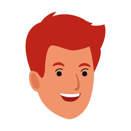 young man face cartoon icon over white background, vector illustration