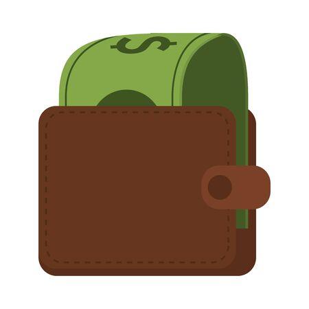Wallet with cash money cartoon vector illustration graphic design Иллюстрация