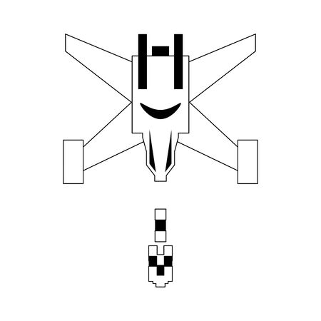 Pixelated videogame spaceship shooting isolated vector illustration graphic design