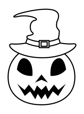 halhalloween pumpkin with witch hat vector illustration design