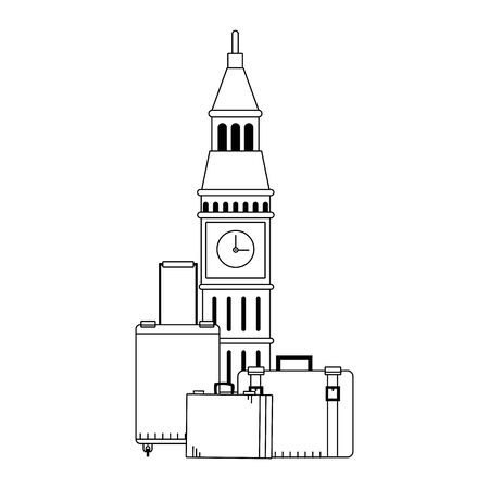 big ben and travel suitcases over white background, vector illustration