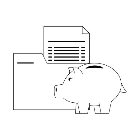 Money piggy with folder and documents in black and white vector illustration