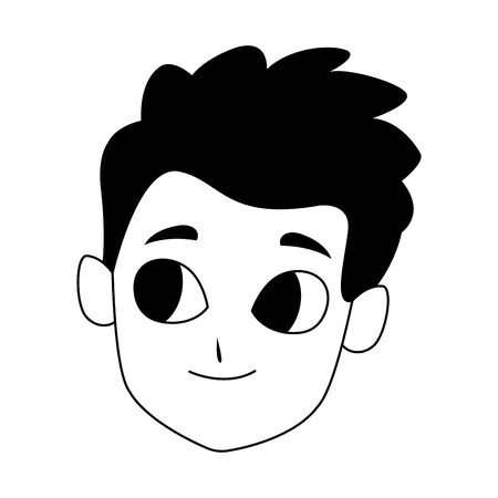 happy kid face icon over white background, vector illustration