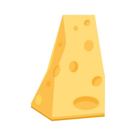 piece of cheese over white background, vector illustration Illustration