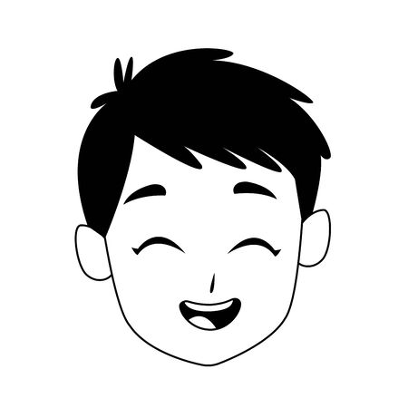 happy kid face icon over white background, black and white design. vector illustration