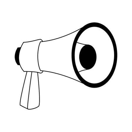 megaphone icon over white background, black and white design. vector illustration