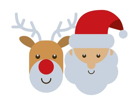 merry christmas santa claus and deer character vector illustration design