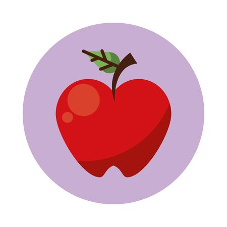 apple fresh fruit nature icon vector illustration design