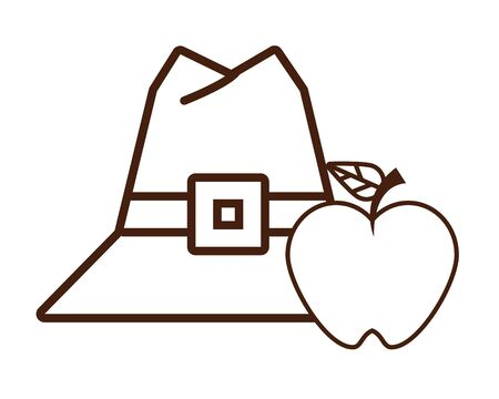 pilgrim hat with apple fruit vector illustration design
