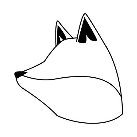 cartoon fox head icon over white background, vector illustration