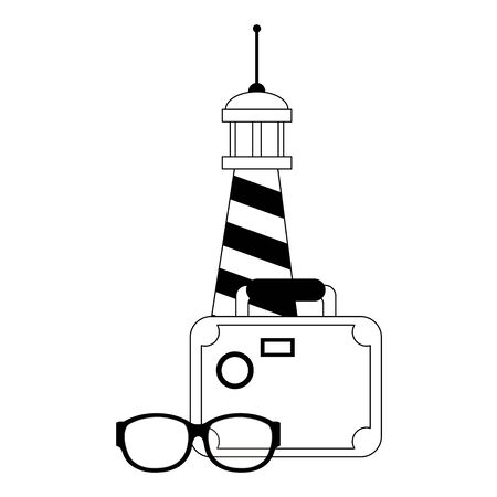 Summer lighthouse suitcase and sunglasses cartoons vector illustration graphic design Illustration