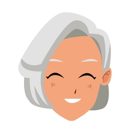 old woman smiling cartoon icon over white background, vector illustration
