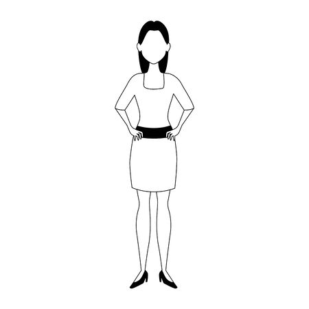cartoon young woman wearing elegant dress over white background, flat design, vector illustration