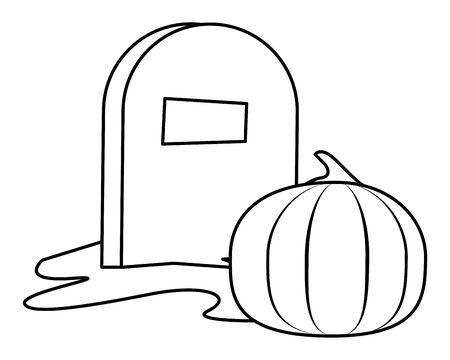 halloween pumpkin fruit with graveyard vector illustration design
