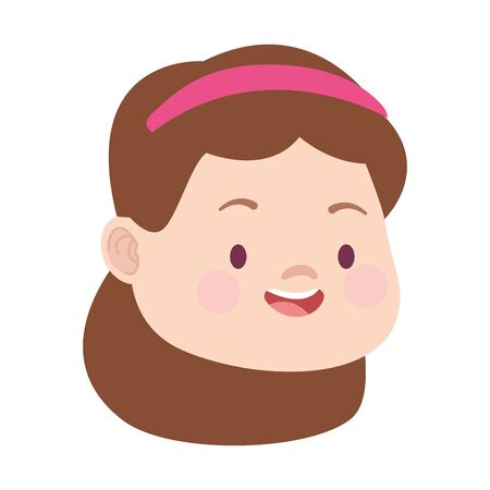 cute cartoon girl face icon over white background, colorful design. vector illustration
