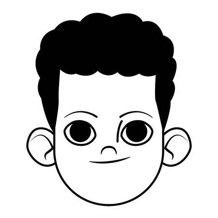 petit enfant afro-américain avatar personnage de dessin animé photo de profil portrait isolé noir et blanc illustration vectorielle conception graphique Vecteurs