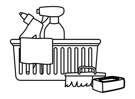 cleaning and hygiene equipment liquid soap, spray cleaner into a cleanliness basket with a cloth, scrum brush and soap bar in black and white vector illustration graphic design Foto de archivo - 134525912