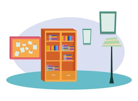Office and workplace library and corkboard with notes elements cartoons ,vector illustration graphic design.