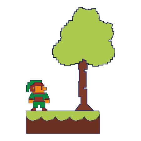 Videogame pixelated elf character in landscape scenery vector illustration graphic design