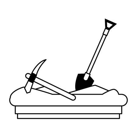 Mining pick and shovel tools work equipment vector illustration graphic design