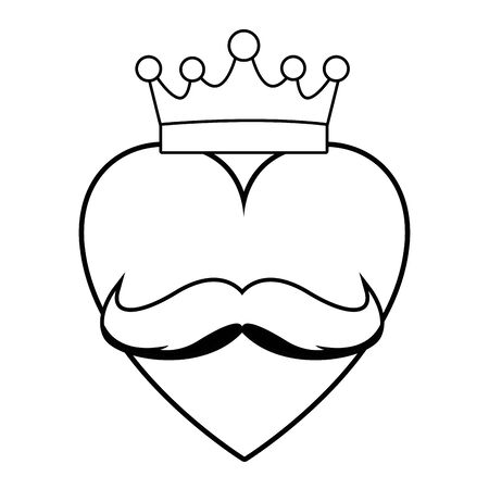red heart with golden crown and moustache icon cartoon in black and white vector illustration graphic design Illustration