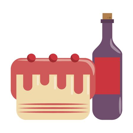 restaurant food and cuisine bottle with wine and cake with cheries icon cartoons vector illustration graphic design