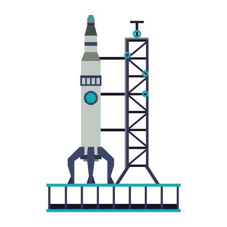 Spaceship on take off plataform symbol isolated vector illustration graphic design 向量圖像