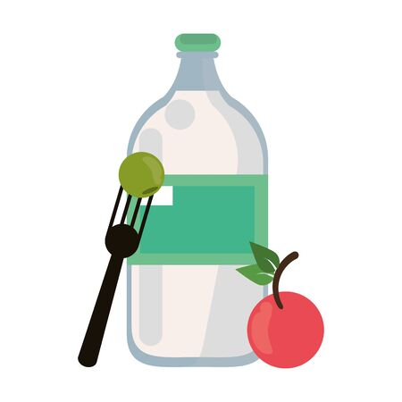 healthy and balanced food cherry with water bottle cartoon vector illustration graphic design Illustration