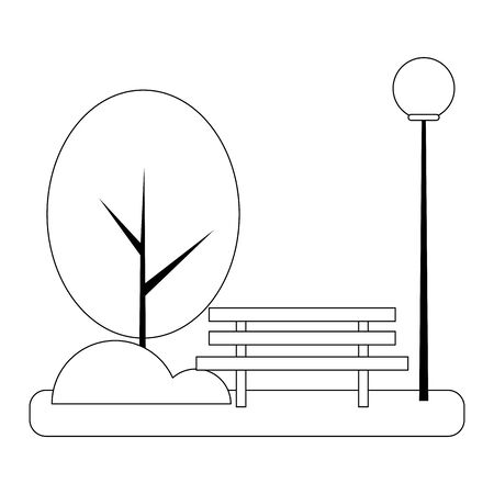 Park with tree bush bench and streetlight scenery isolated vector illustration graphic design