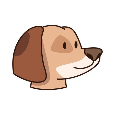 cute dog head icon over white background, colorful design. vector illustration