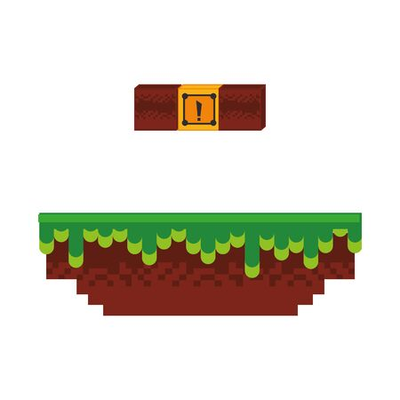 Retro videogame scenery with terrain isolated vector illustration graphic design
