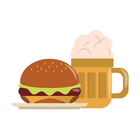 restaurant food and cuisine big glass with beer and hamburger icon cartoons vector illustration graphic design