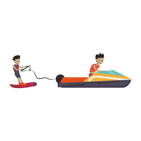 Young man training wakeboarding with boat vector illustration graphic design