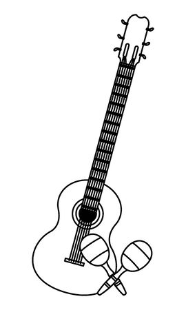 mexican food and tradicional culture with macaras and guitar icon cartoon in black and white vector illustration graphic design 일러스트