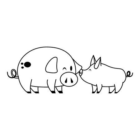 cute animals pigs farm mammal pet cartoon vector illustration graphic design Illustration