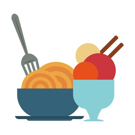 restaurant food and cuisine spaghetti on a bowl and a cup with ice cream icon cartoons vector illustration graphic design
