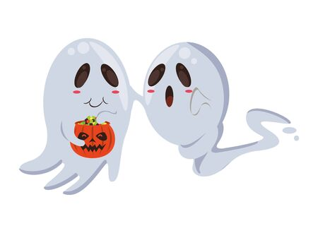 halloween ghosts floating with pumpkin characters vector illustration design