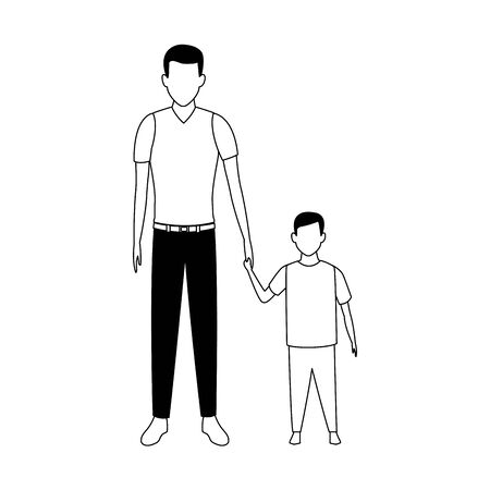 avatar man and little boy icon over white background, vector illustration